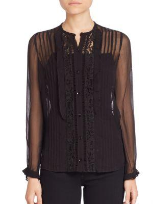 Rebecca Taylor Pintucked Lace Silk Blouse In Black