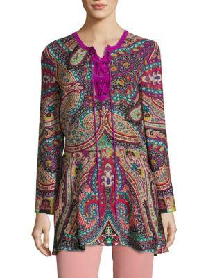 Etro Paisley-print Silk Lace-up Blouse In Purple