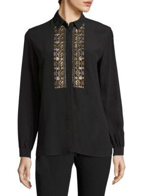 Etro Silk Button-front Shirt In Black