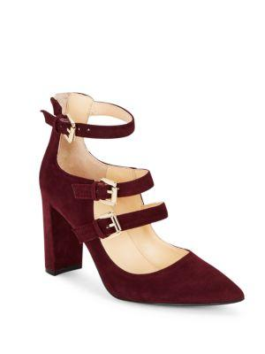 Ivanka Trump Kamon Point Toe Buckled Suede Shoes In Dark Red
