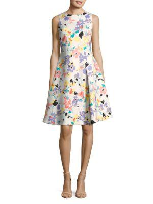 Calvin Klein Floral Seamed Fit-&-flare Dress In Multi