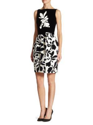 Oscar De La Renta Leaf Bateau Neckline Dress In Black White