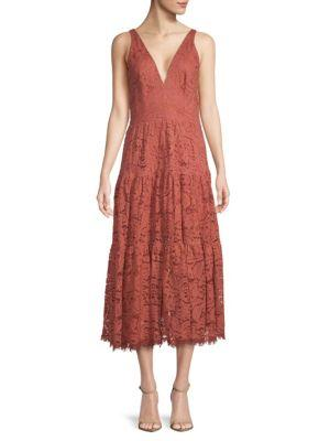 Dress The Population Madelyn Plunging Lace Midi Dress In Auburn