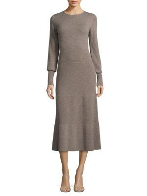 Agnona Cashmere Flare Dress In Taupe