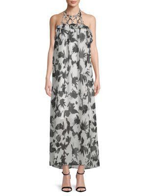 Moon River Halter Printed Maxi Dress In Black Multi