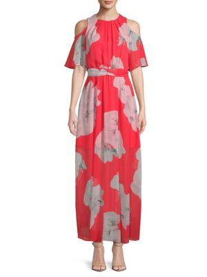 Calvin Klein Cold-shoulder Floral Tie Maxi Dress In Watermelon