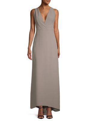 Valentino V-neck Silk Floor-length Dress In Grey