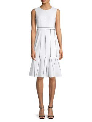 Calvin Klein Contrast-stitch A-line Dress In White Black