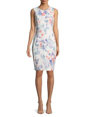 Calvin Klein Sleeveless Floral Sheath Dress In Opal Multi