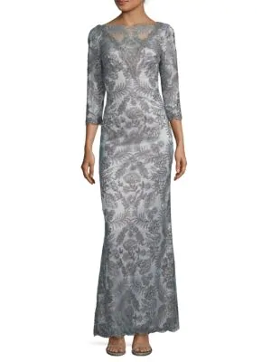 Tadashi Shoji Three-quarter Embroidered Dress In Gunmetal