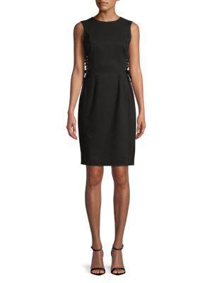 Calvin Klein Lace-up Corset Sheath Dress In Black