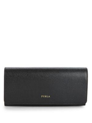 Furla Leather Continental Wallet In Onyx
