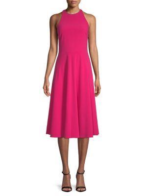 Halston Heritage Sleeveless Midi Dress In Cerise