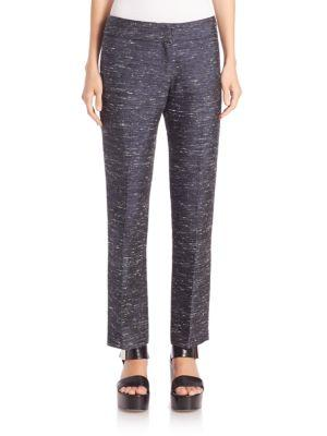 Derek Lam Silk-blend Ankle Pants In Indigo