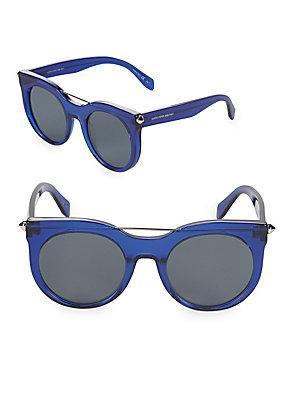 Alexander Mcqueen 52mm Aviator Sunglasses In Blue Silver
