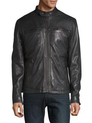 Superdry Leather Biker Jacket In Black
