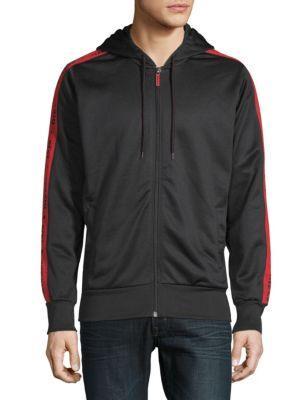 Diesel Logo Hooded Jacket In Black