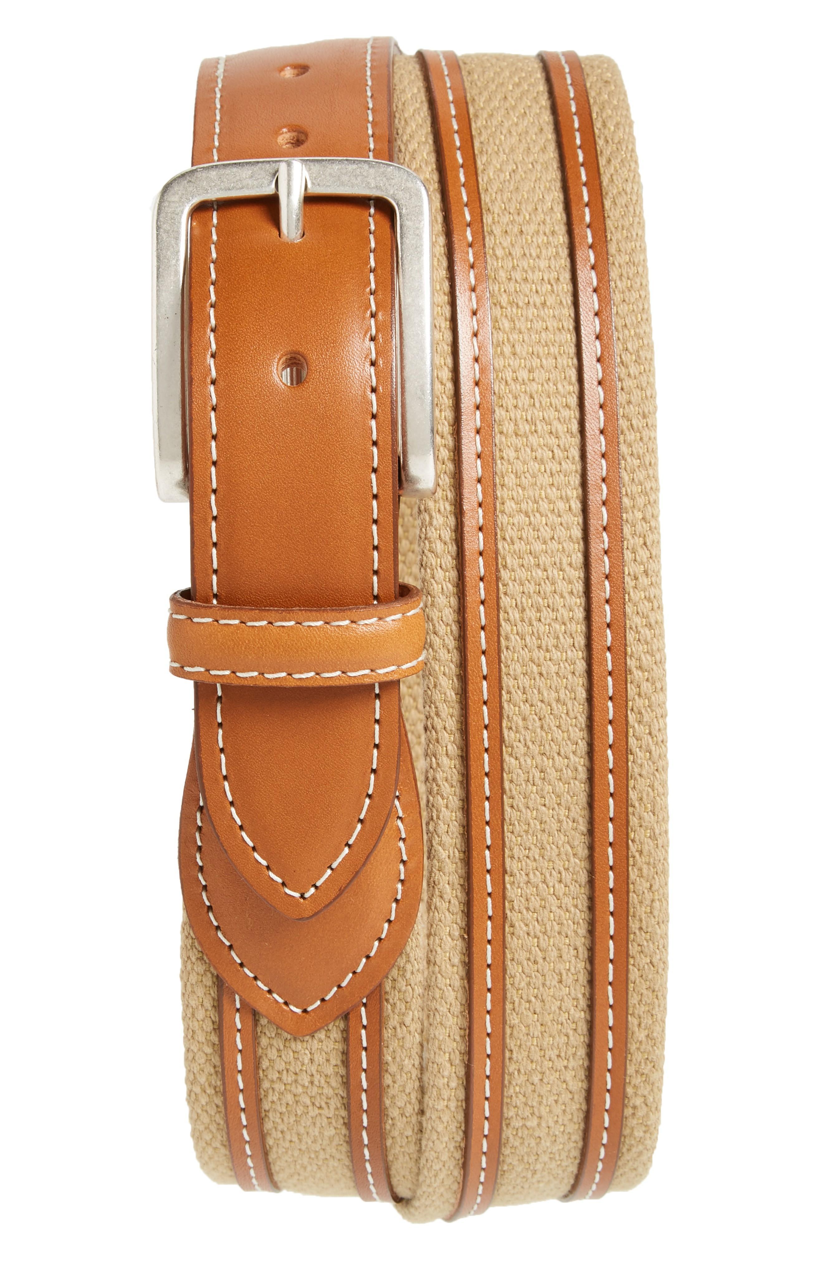 Allen Edmonds Canvas Strap Belt In Khaki/ Walnut