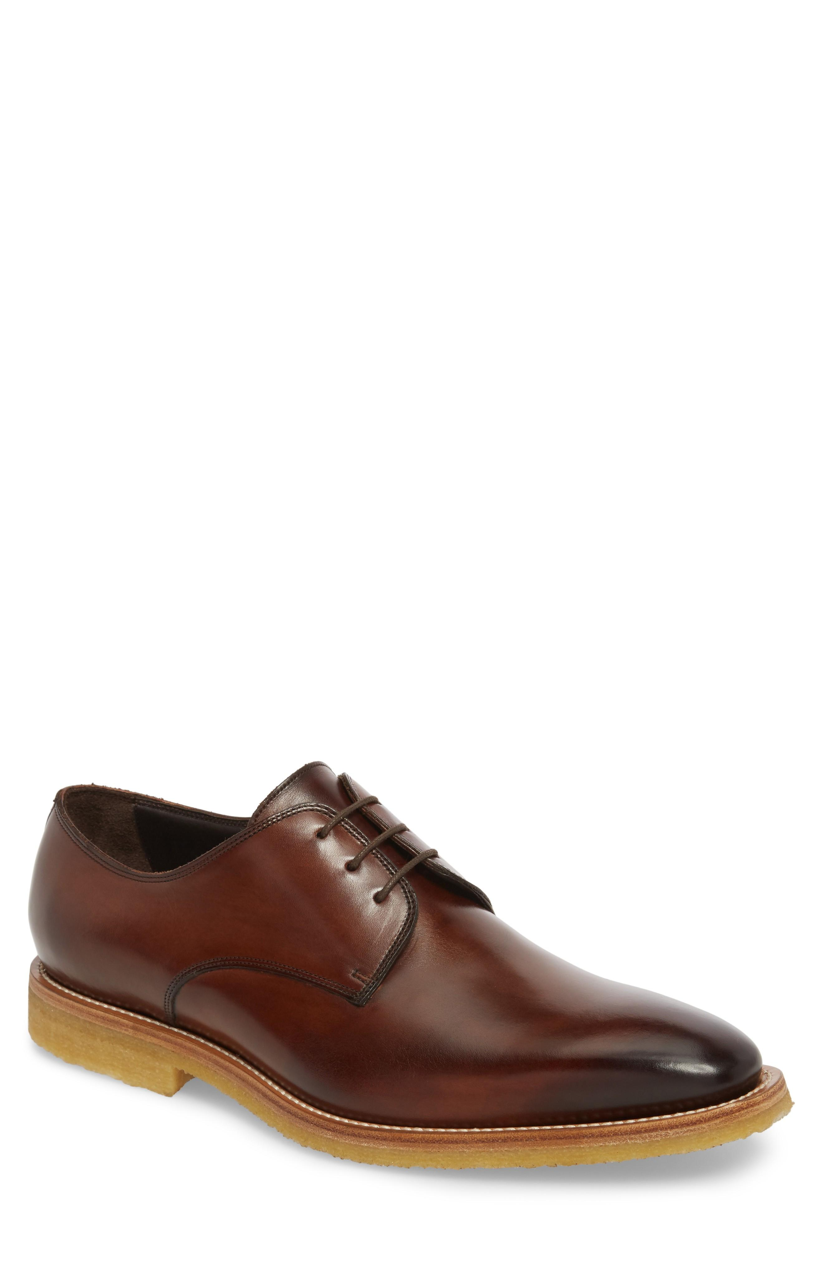 To Boot New York Caruso Plain Toe Derby In Chestnut Leather