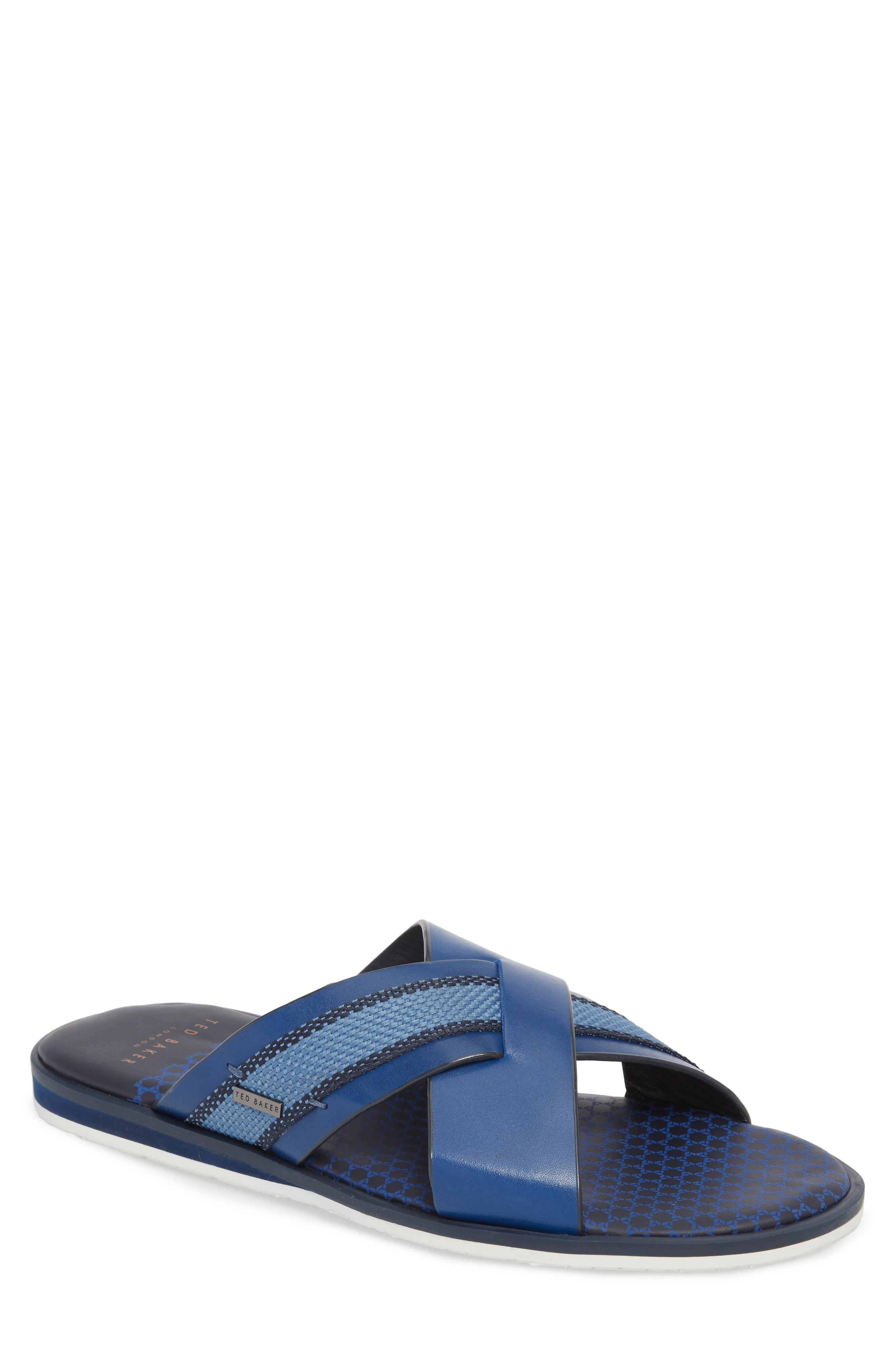 Ted Baker Farrull Cross Strap Slide Sandal In Blue Leather/textile