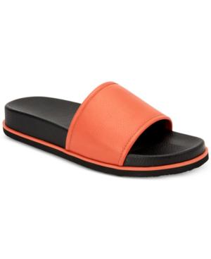 Calvin Klein Men's Mackee Tumbled Smooth Leather Slides Men's Shoes In Sunset Orange