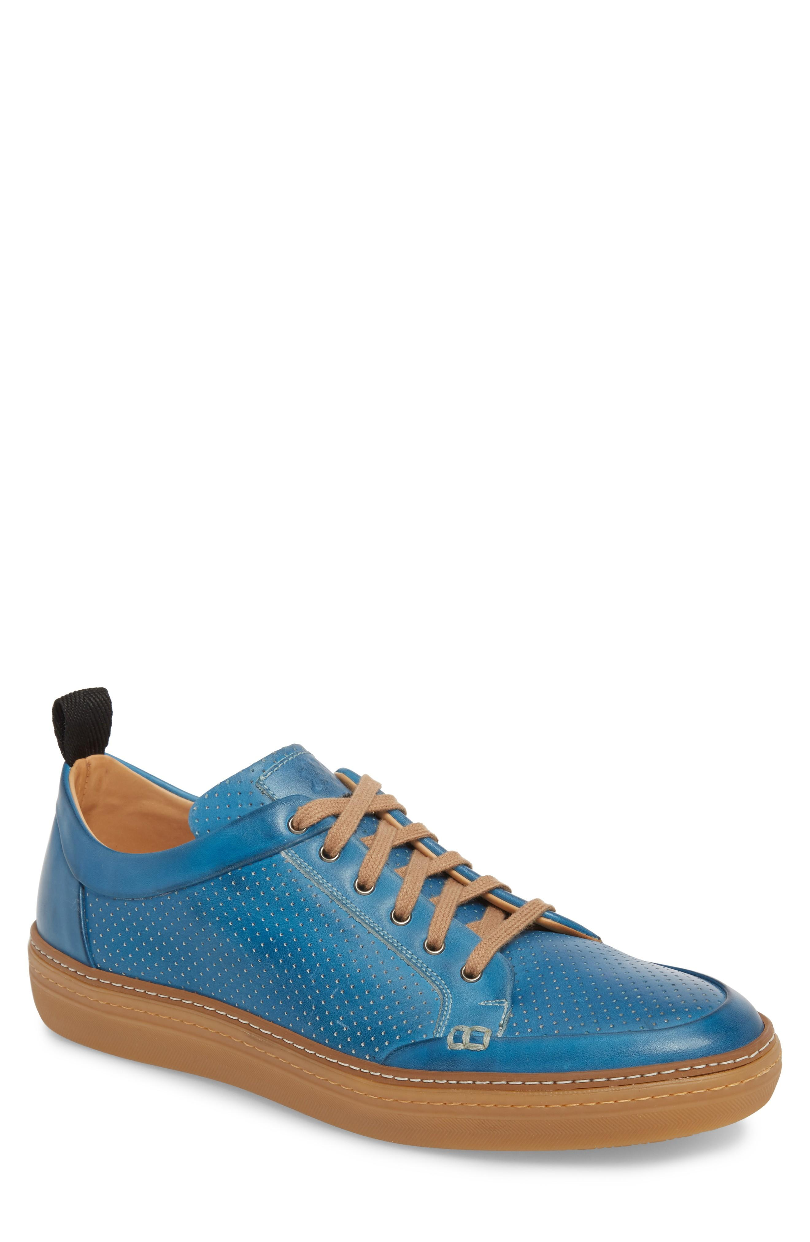 Mezlan Ceres Perforated Low Top Sneaker In Blue / Royal Blue Leather