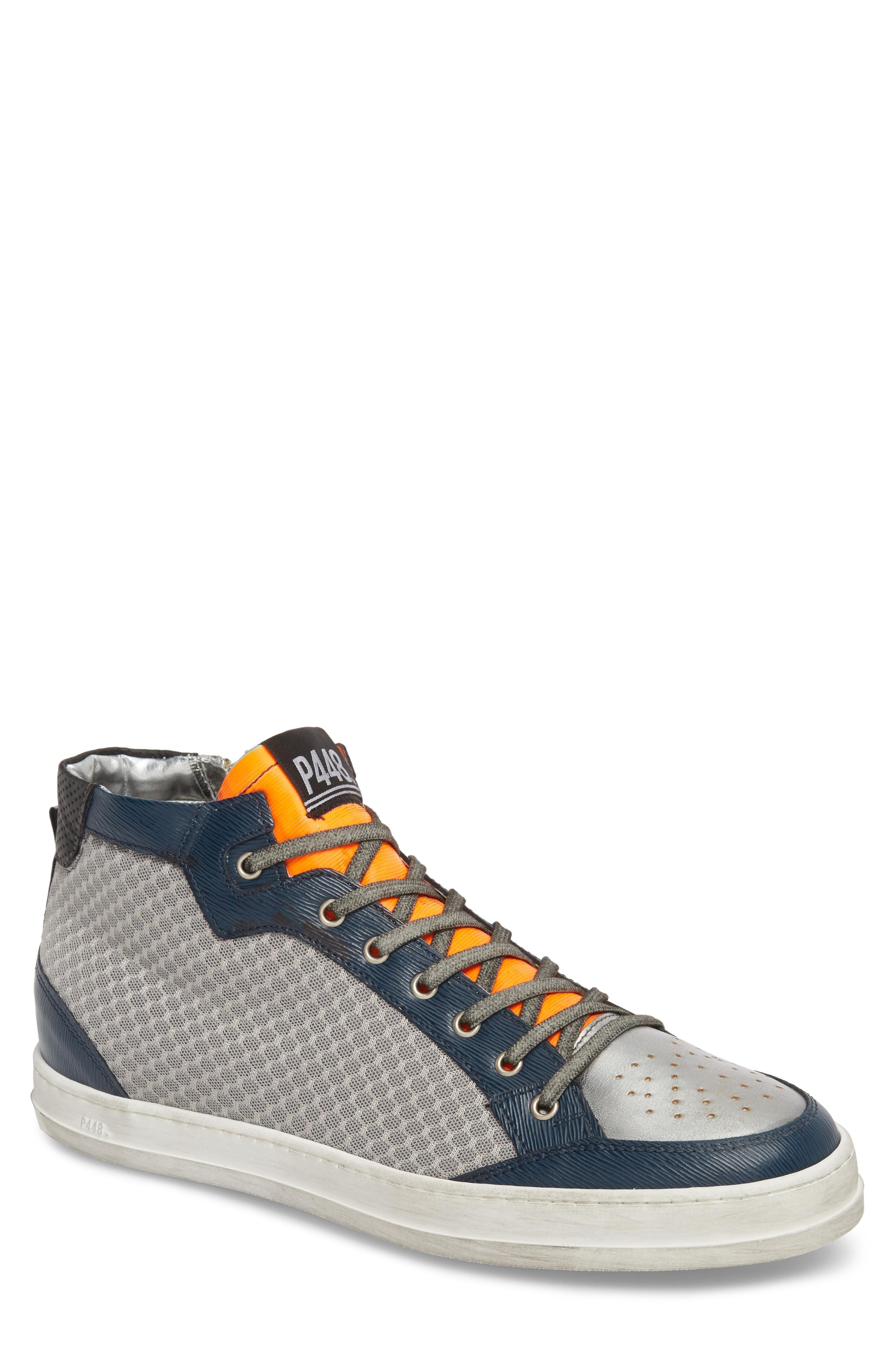 P448 High Top Tech Mesh Sneakers In Grey Tec