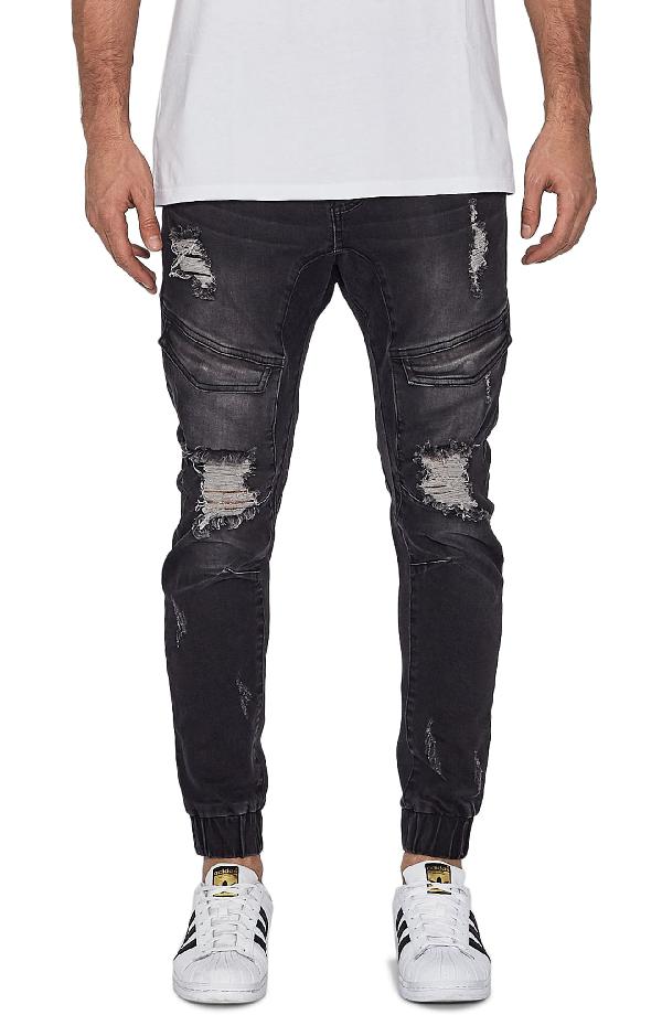 Nxp Flight Skinny Denim Jogger Pants In Broken Black