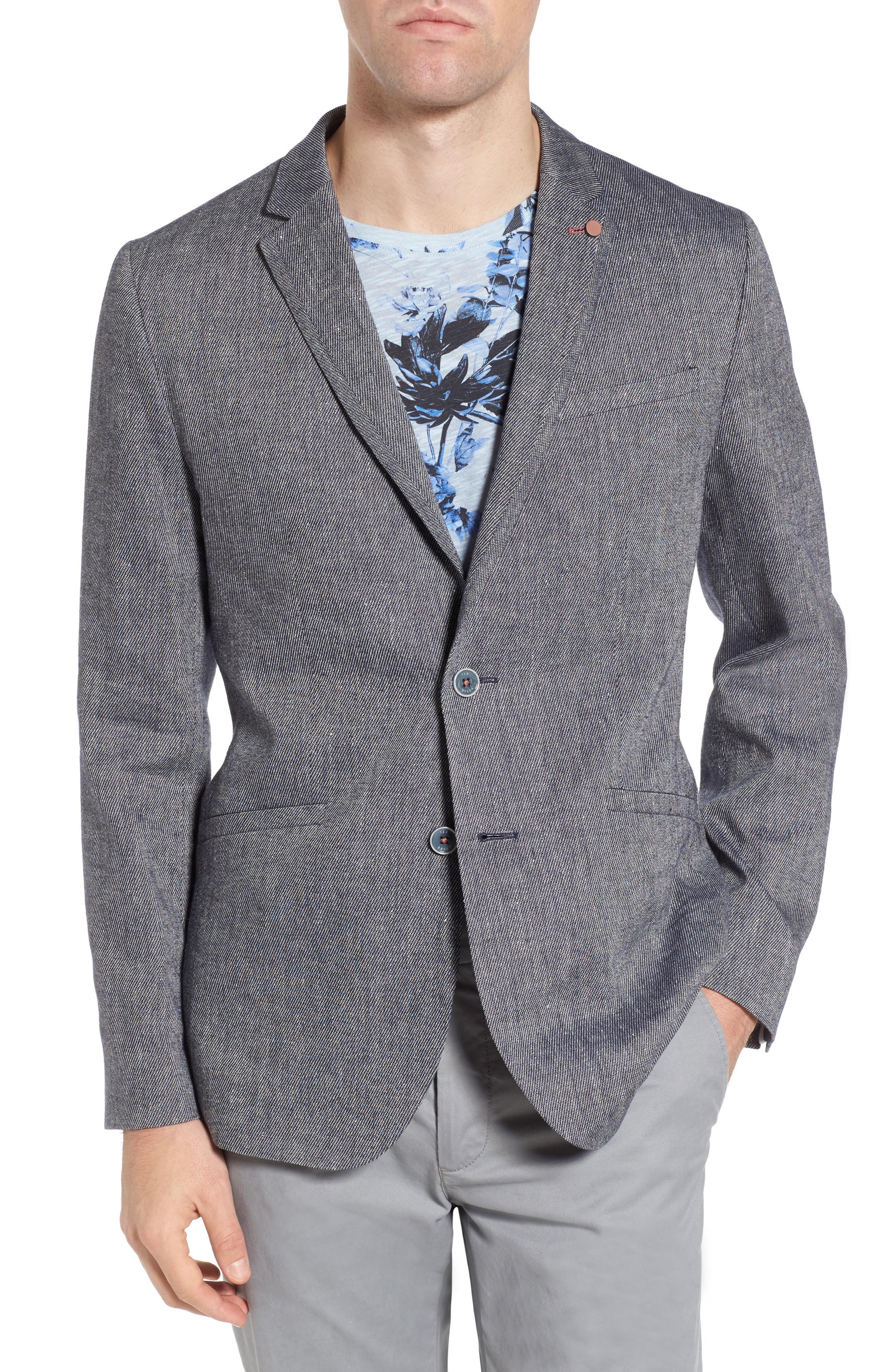 Ted Baker Hines Linen Blend Blazer In Blue