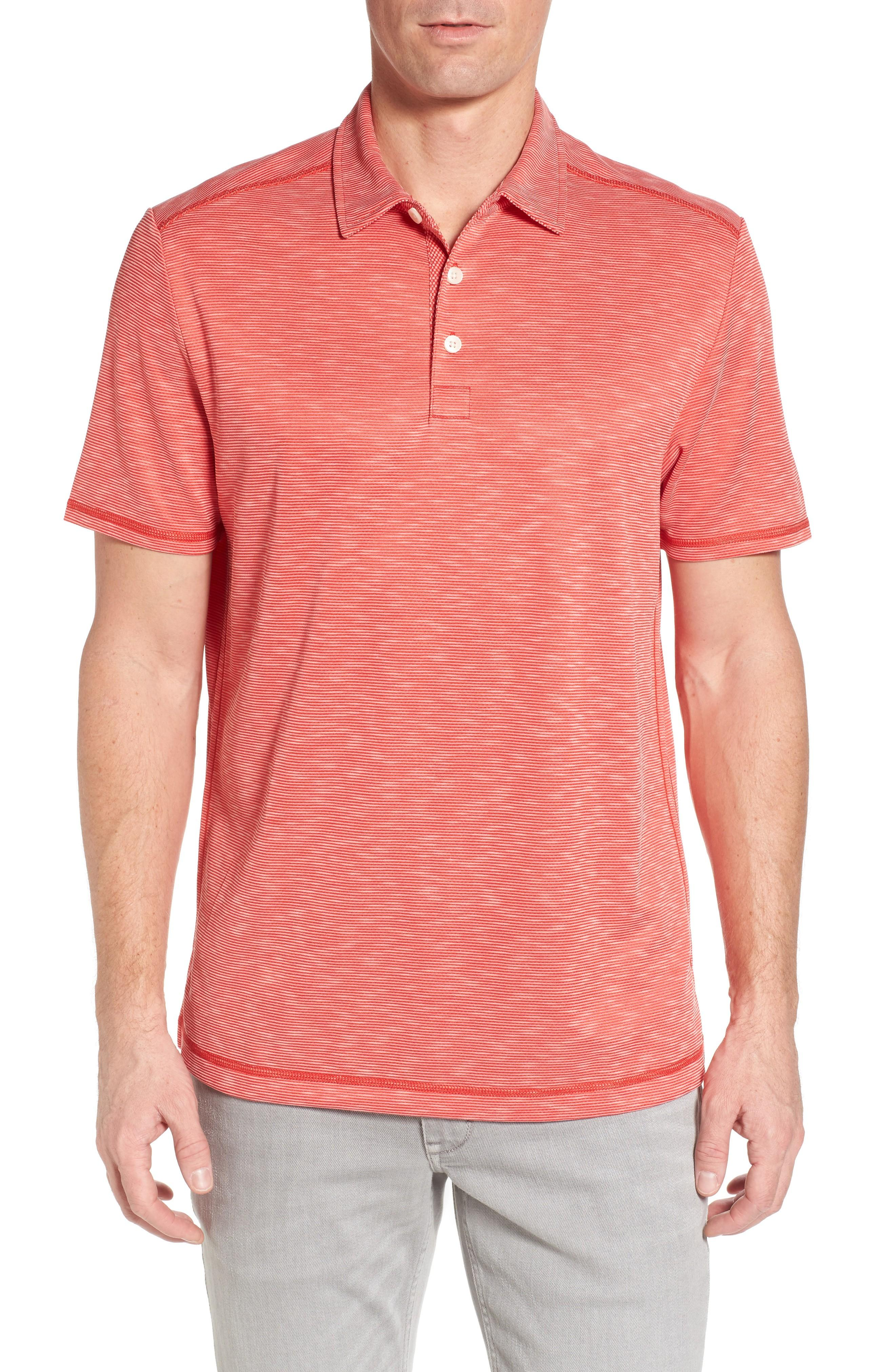 Tommy Bahama New Double Tempo Spectator Jersey Polo In Cherry Tomato