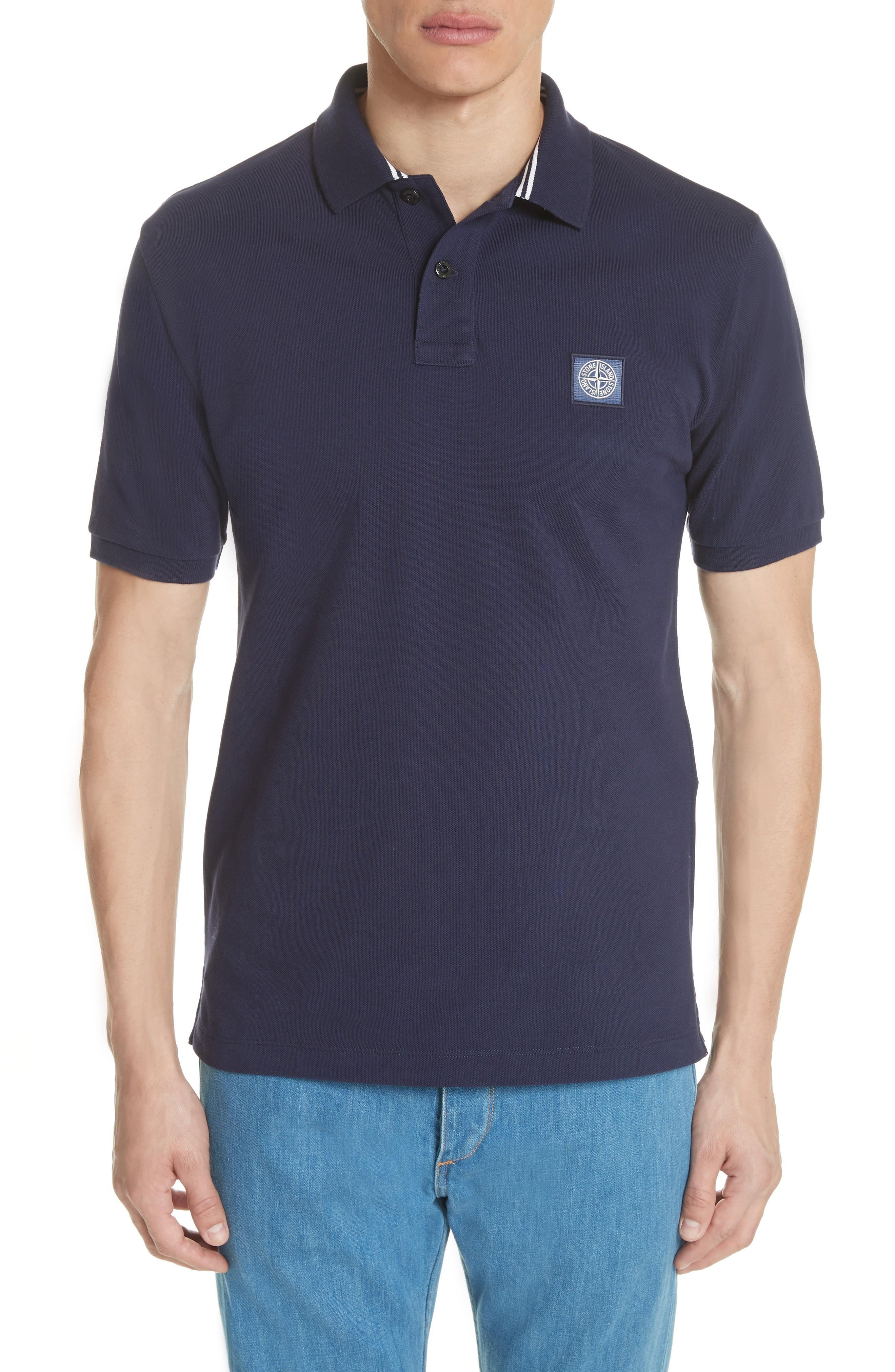Stone Island Pique Polo In Navy