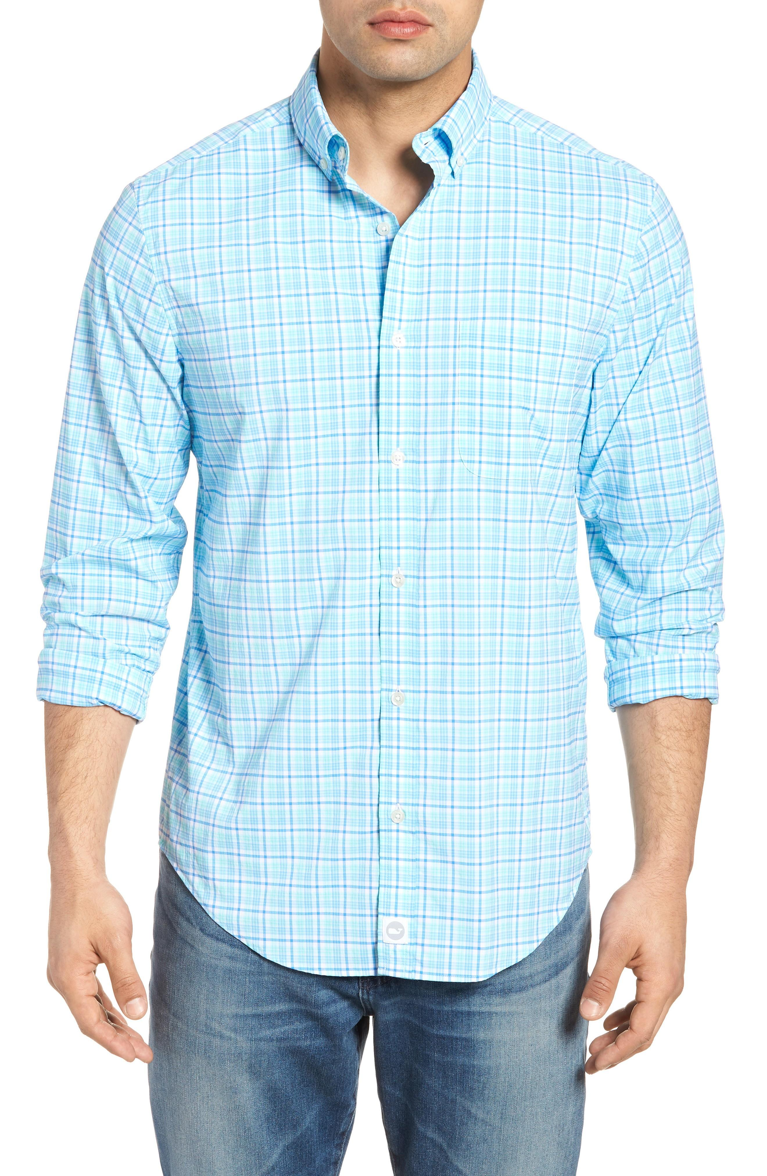 Vineyard Vines Tipsy Bar Classic Fit Stretch Plaid Sport Shirt In Turquoise