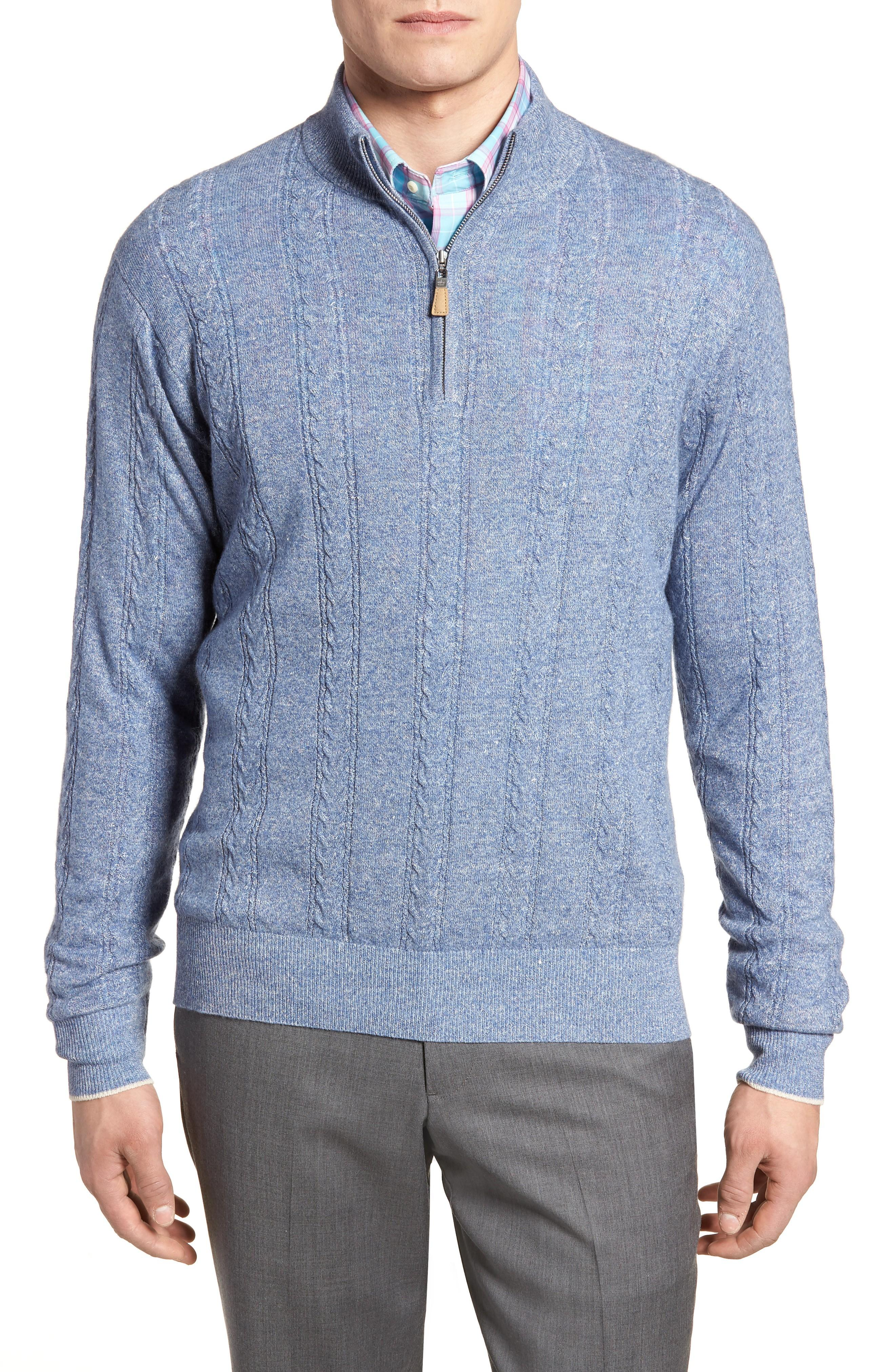 Peter Millar Crown Fleece Cashmere & Linen Quarter Zip Sweater In Atlas Blue