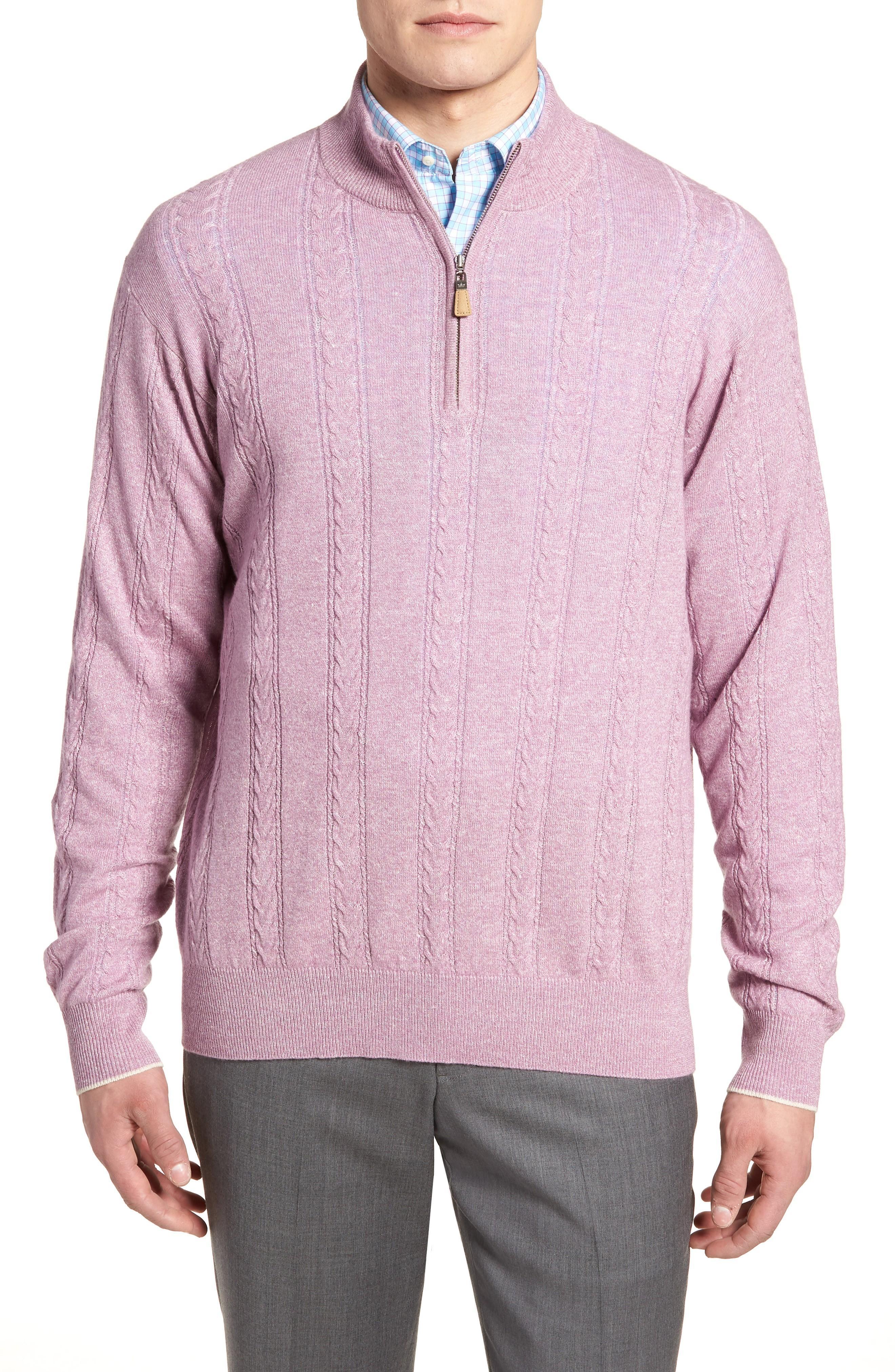 Peter Millar Crown Fleece Cashmere & Linen Quarter Zip Sweater In Muscadine