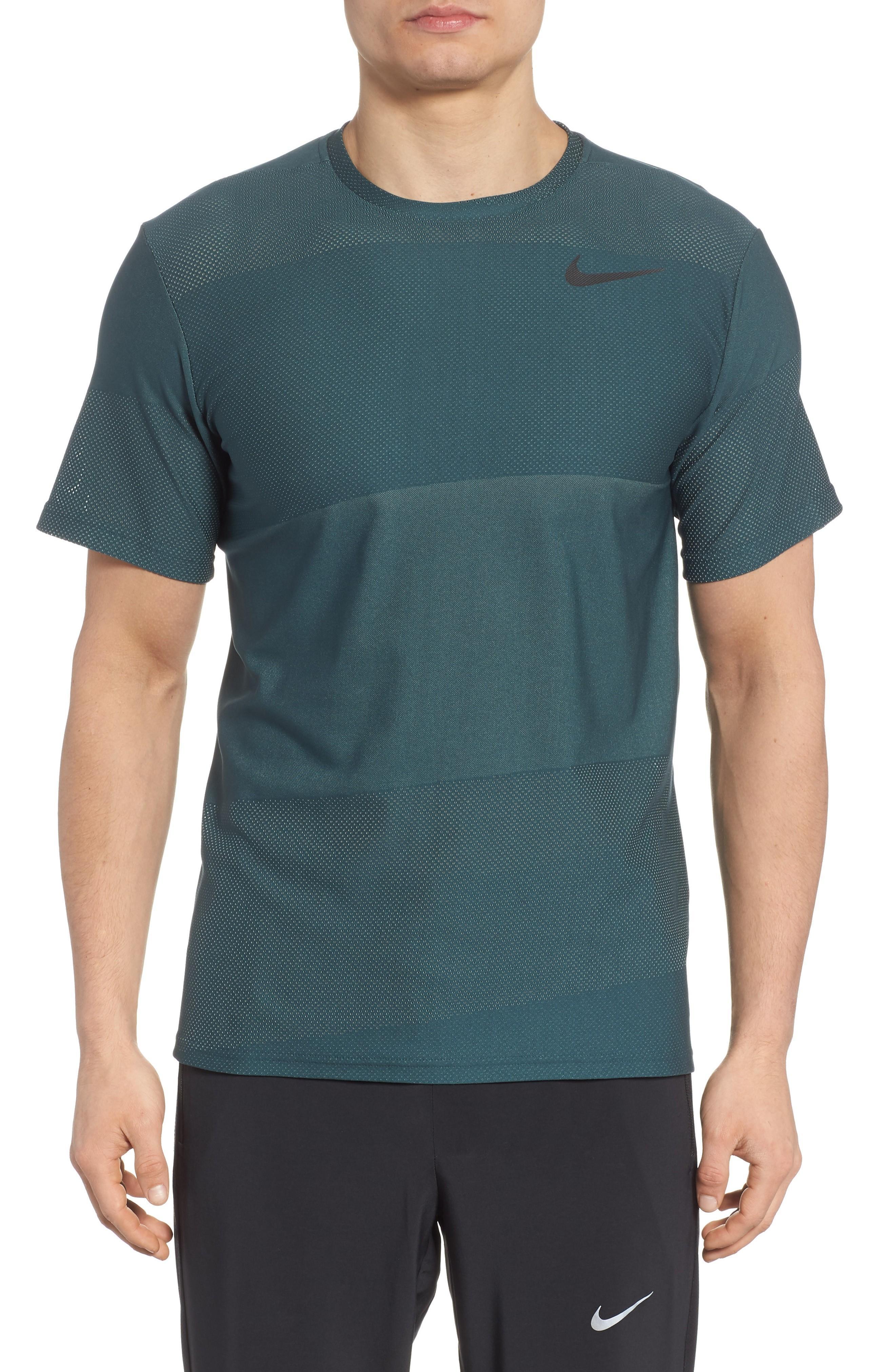 Nike Crewneck Mesh T-shirt In Deep Jungle/ Green Glow/ Black