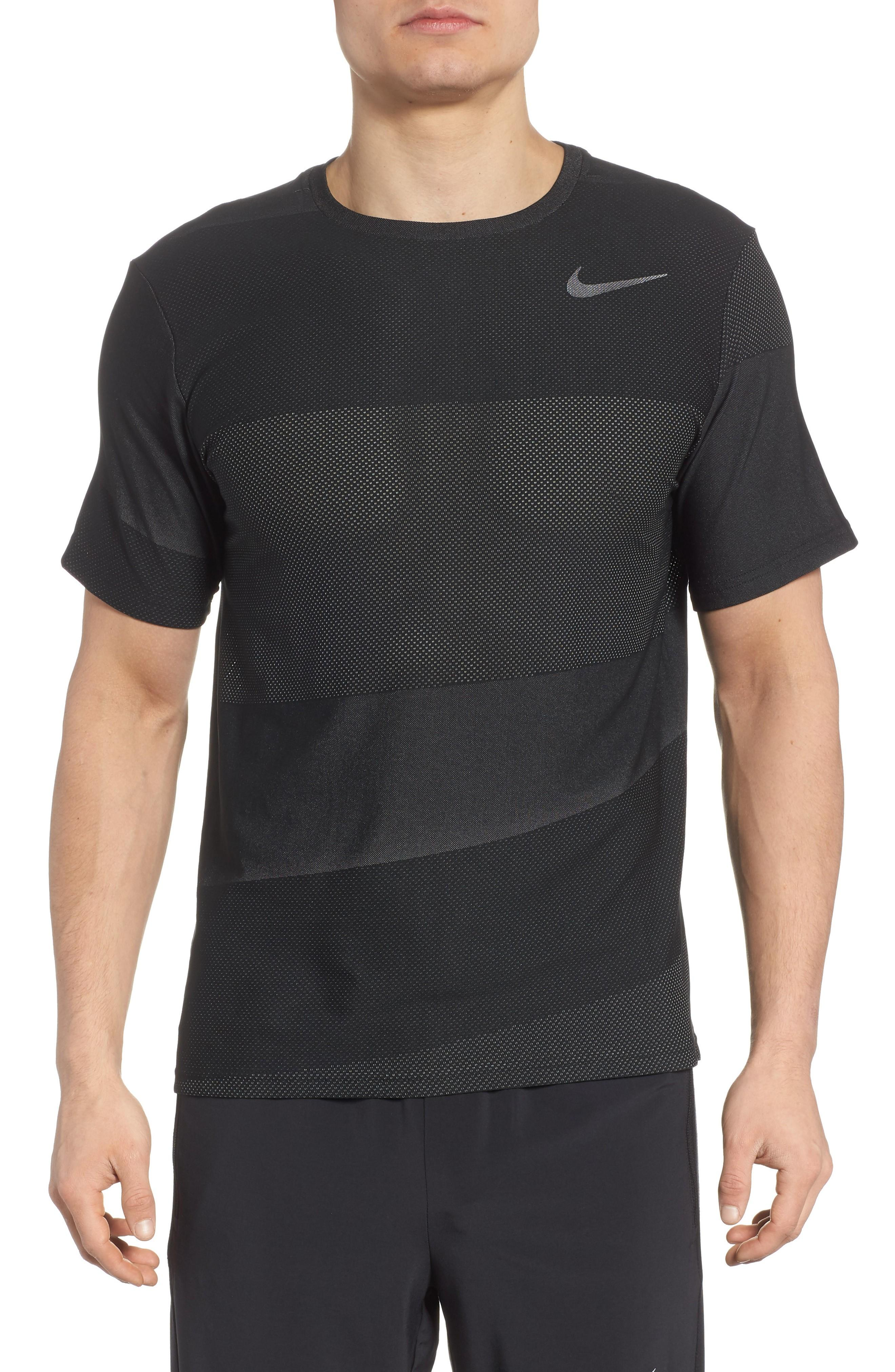 Nike Crewneck Mesh T-shirt In Black/ White/ Mtlc Hematite