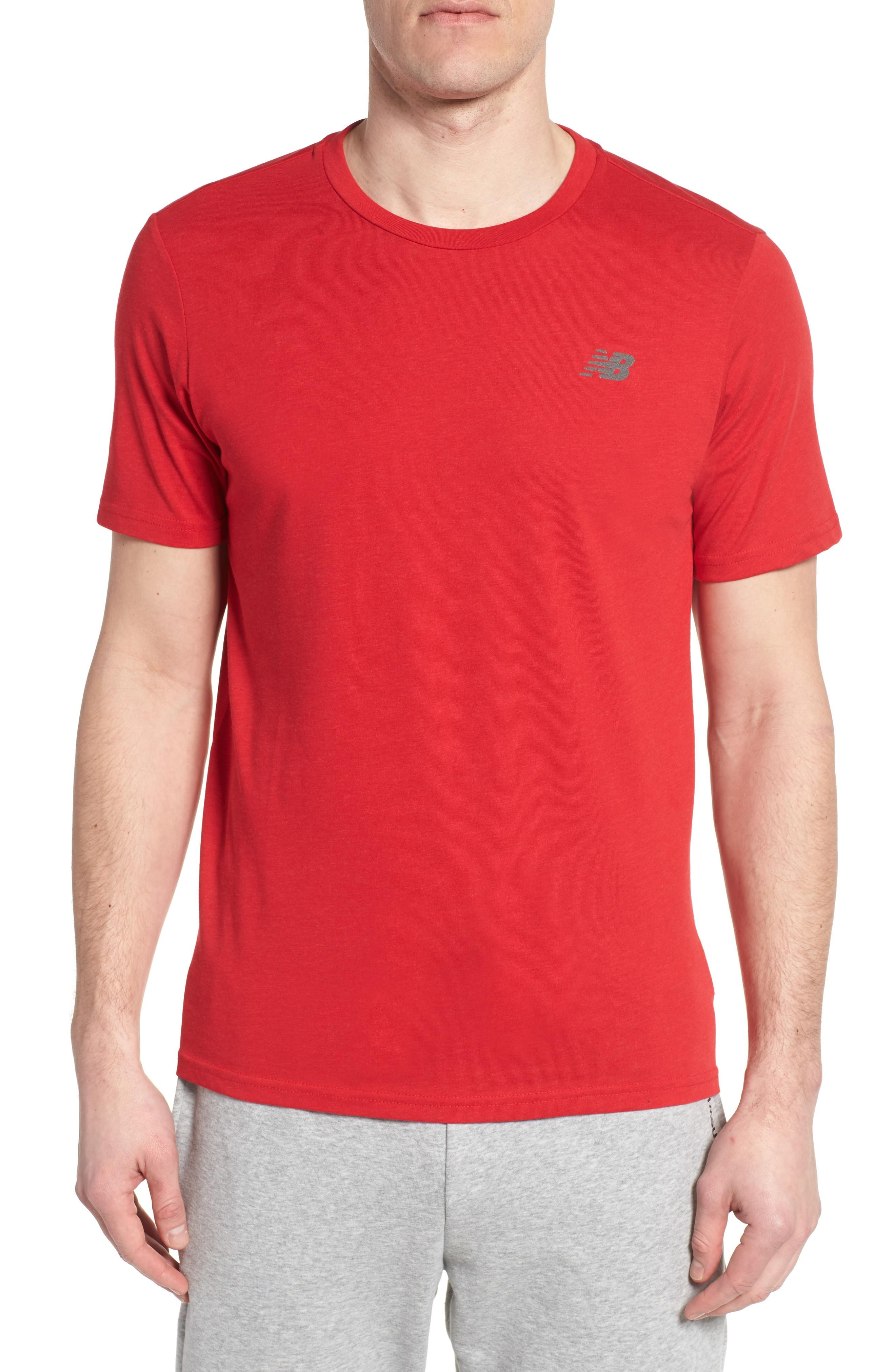 New Balance Heather Tech Crewneck T-shirt In Team Red