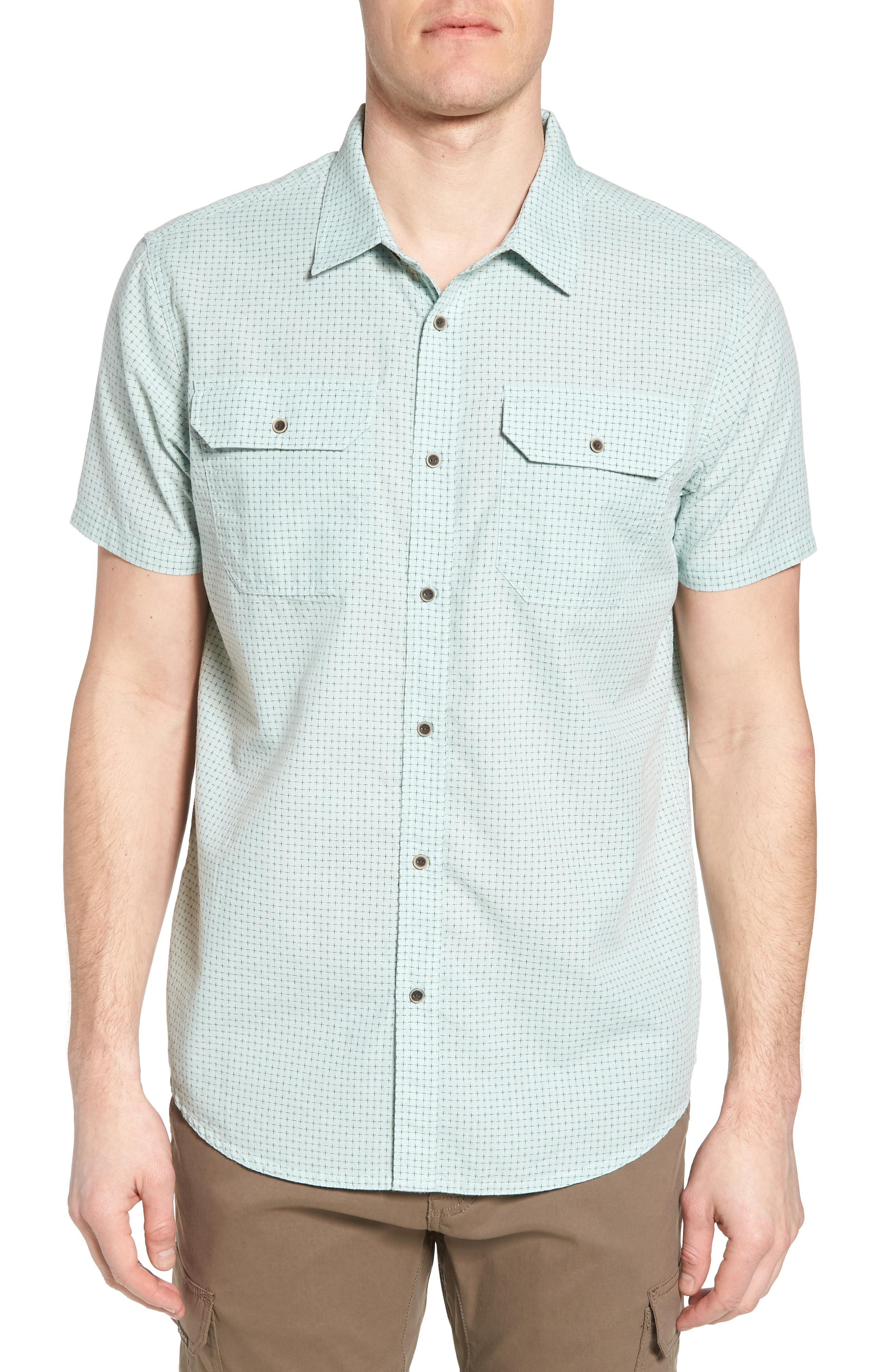 Prana Blakely Slim Fit Short Sleeve Sport Shirt In Turtle Green