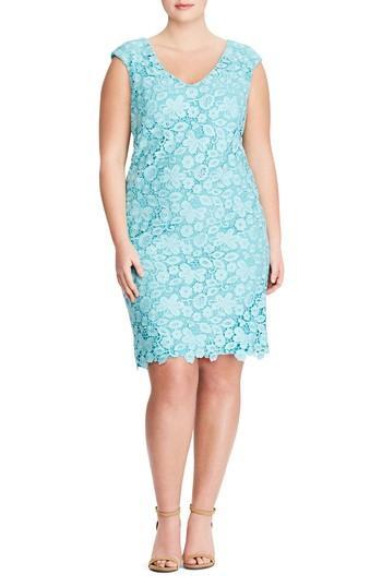 Lauren Ralph Lauren Montie Lace Sheath Dress In Skylight