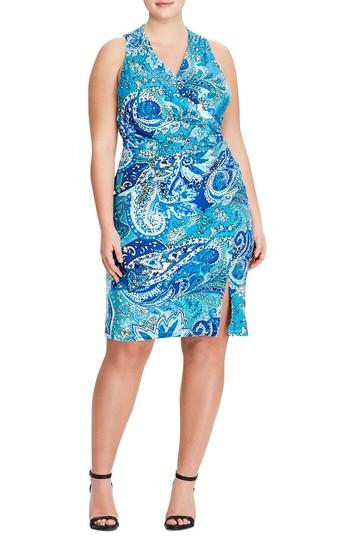 Lauren Ralph Lauren Harkins Petra Sheath Dress In Turquoise-royal-multi