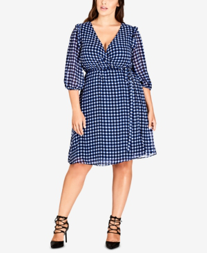 City Chic Trendy Plus Size Printed Wrap Dress In Lapis
