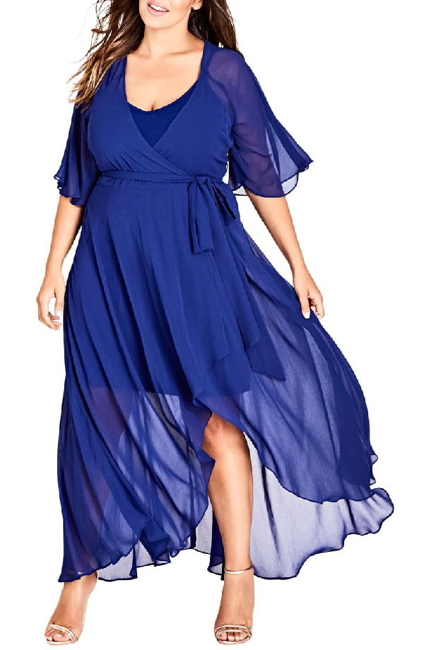 City Chic Enthrall Me High/low Dress In Lapis
