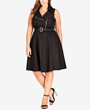 City Chic Trendy Plus Size Belted Moto Dress In Black