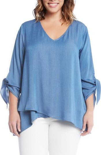 Karen Kane Tie Sleeve Chambray Top In Blue
