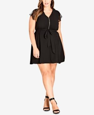 City Chic Trendy Plus Size Lace-sleeve Tunic Dress In Black