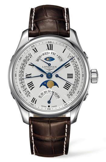 Longines Master Automatic Multifunction Leather Strap Watch, 44mm In Brown/ Silver