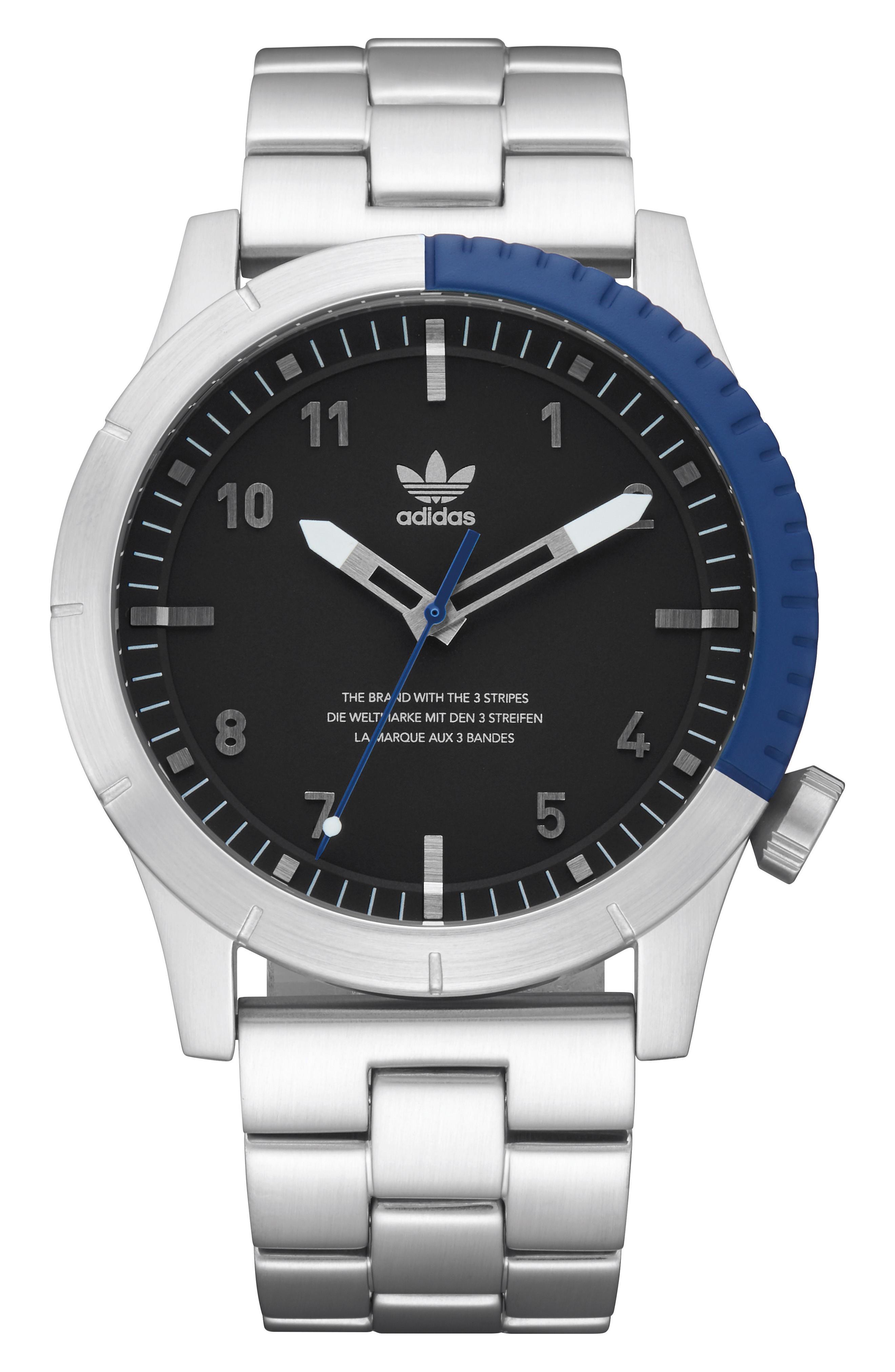 Adidas Originals Cypher Bracelet Watch, 42mm In Silver/ Black/ Blue