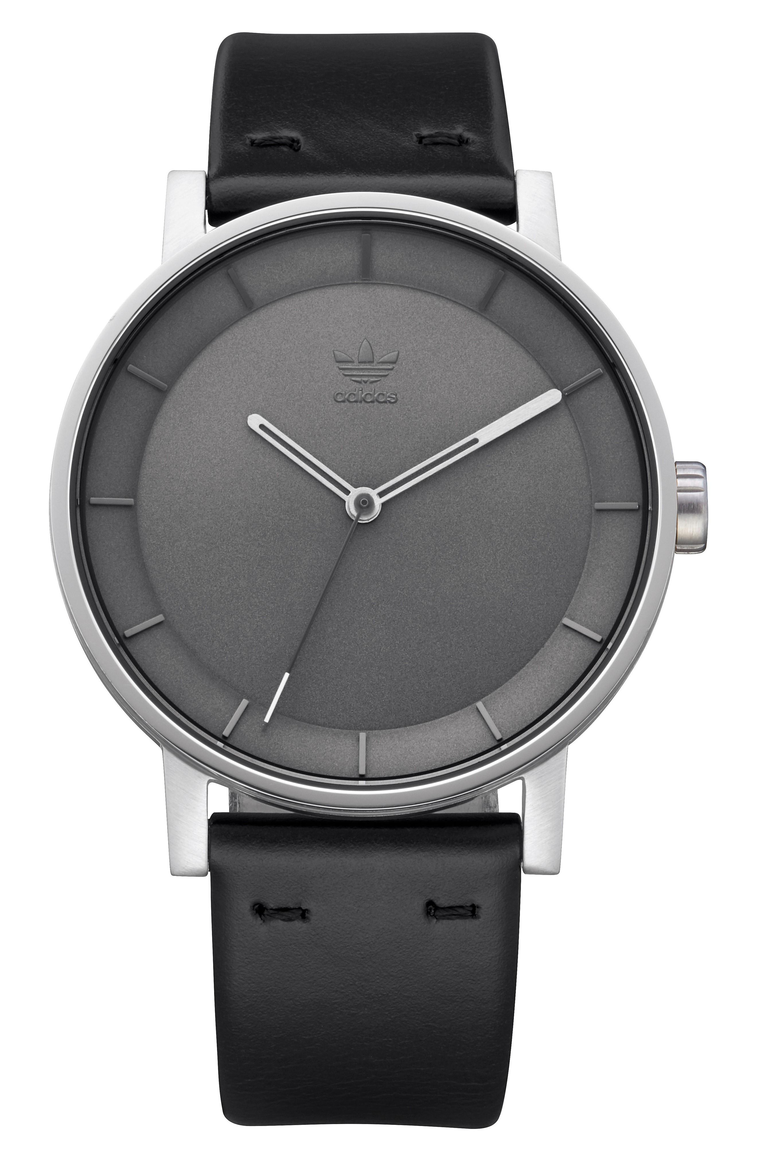 Adidas Originals District Leather Strap Watch, 40mm In Black/ Charcoal/ Silver