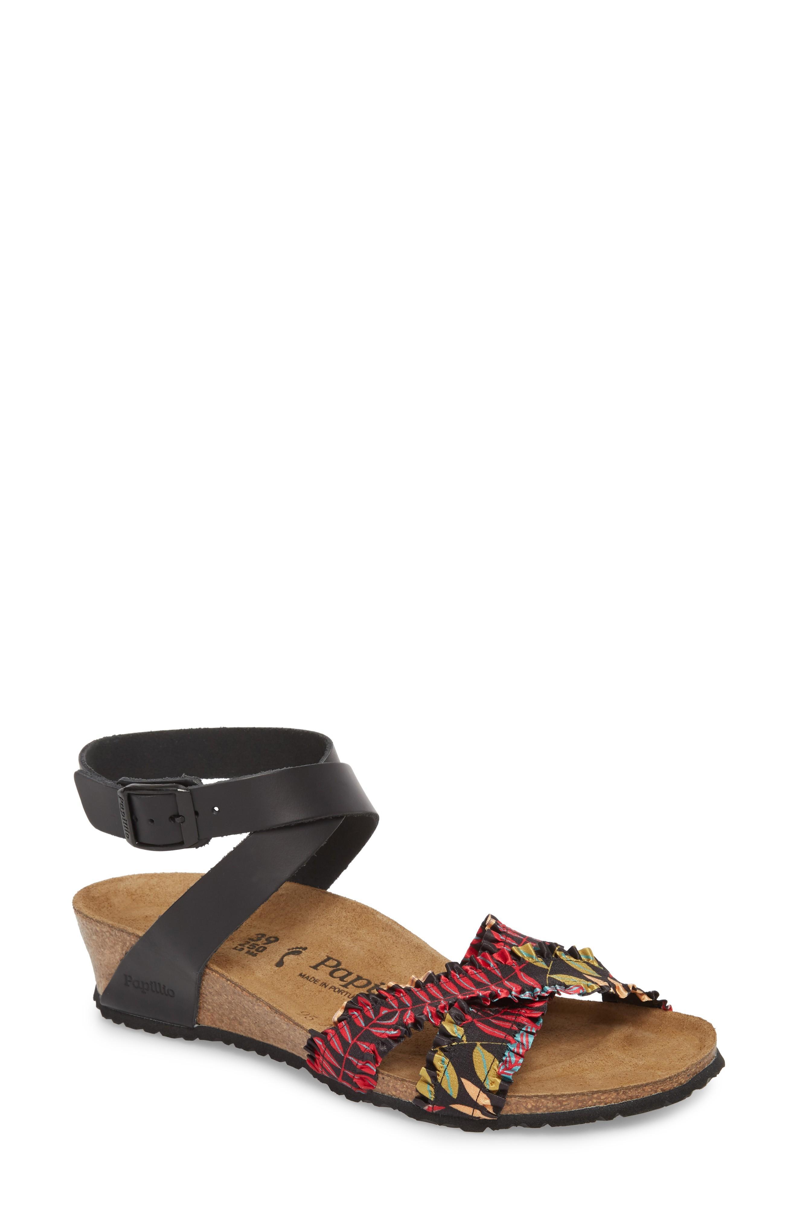 7f69ddf6d08 Birkenstock Lola Wedge Sandal In Flower Frill Black Fabric
