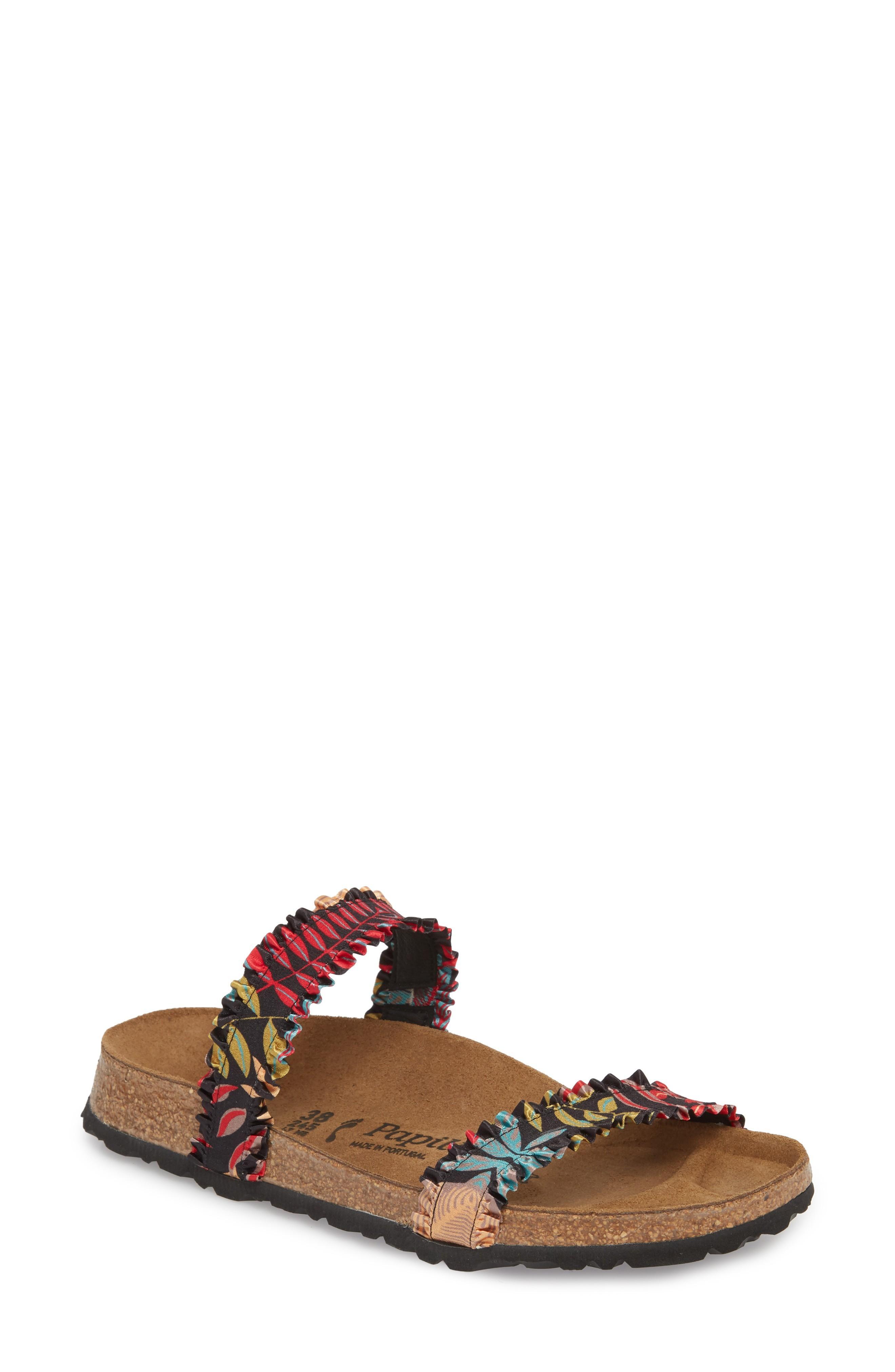 Birkenstock Curacao Slide Sandal In Flower Frill Black Fabric